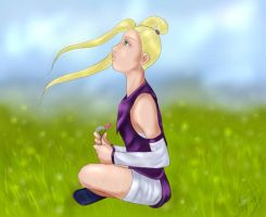 Ino and a Field. by nightambre