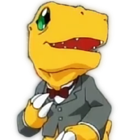 Agumon in a siut render by Raiichiro