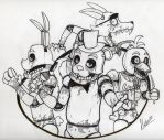 Freddy Fazbear's Pizza happy family (no color) by VictorZ1