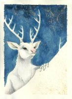 XMas Cards: White Stag by Reymonkey