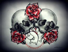SKULLS HEART ROSES tattoo design by oldSkullLovebyMW
