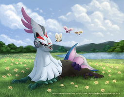 Meadow Lounging - Silvally and Cutieflies by RaynesGem