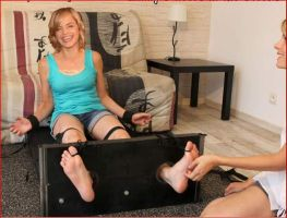 Mena Suvari stock tickled in her apartment by ticklerboy