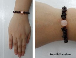 Rose Quartz and Garnet Bracelet by StrengthHonorLove