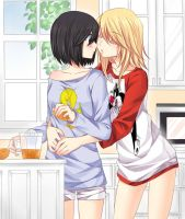 Girlfriends : Good Morning kiss ... and breakfast by Red-Eileen