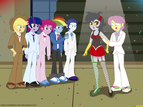 Eris in Equestria Boys - my dress is too formal by CoNiKiBlaSu-fan