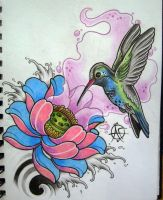 HummingBird Tattoo Design by Frosttattoo