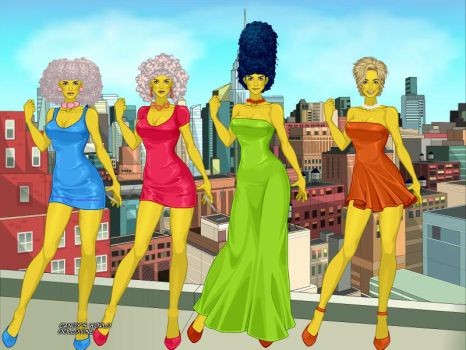Simpsons Marge,lisa,marge twin sisters by adrianaTheGirlOnFire