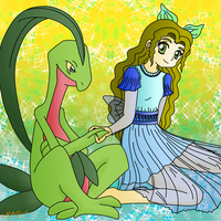 Art Trade Grovyle and OC Haley by MelodyCrystel