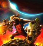 Rocket Racoon and Groot Repaint by CyberGal2013