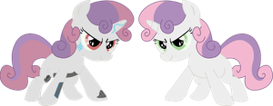 Sweetie Belle and Sweetie Bot by KyeKai