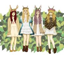 Deer Group (Commission) by lostConciousness