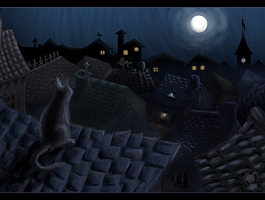 Black cat on the roof by Pech-Misfortune