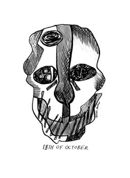 Inktober and Drawlloween #18: MASK by naiveplant