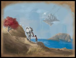 Girl and mech speedpaint by AlexDRomero