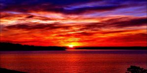 October Burning Sundown In Arcipelago by eskile