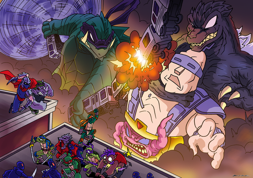 Godzilla and Gamera VS Krang by BJSinc