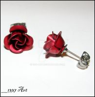 Crimson Rose Stud Earrings by 1337-Art