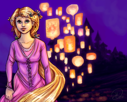Tangled_the lanterns by HenrikeD
