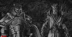 Skyrim khajit and Miraak(digital process) by IcenHeart