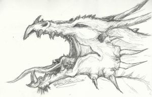 Roaring Dragon Head Sketch by ThousandWordsToSay