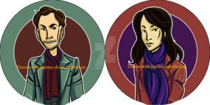 Joan And Sherlock Button Set by dances-with-hipsters