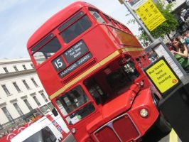 Old Red Bus Front by SlidingWingz