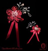 Red Blossom hair clip by Oniko-art