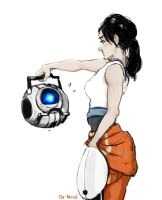 Chell and Wheatley by Tio-Trile