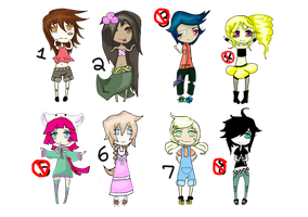 Adoptble Female Cuties (SALE) All only 25 points! by Vocachu