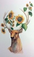 Sunflower deer by dry-oasis