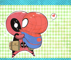 Chibi deadpool meets baby spidey by royudai