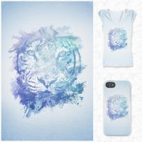 Abstract Watercolor Tiger Portrait @threadless by mrsbadbugs