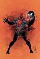 Marat's Deadpool and Venom colored by seanforney