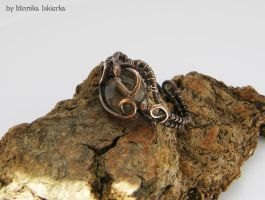 Wire wrapped ring with smoky quartz by mea00