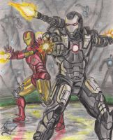 iron man and war machine by angell35art
