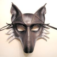 Grey Wolf Leather Mask by teonova