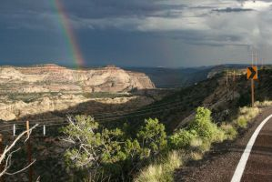 Scenic Utah Drive with Rainbow by Dr-J-Zoidberg