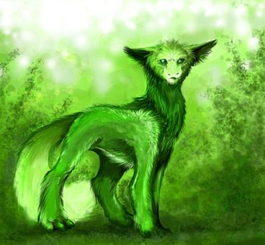 Green and fluffy by BlaineMono