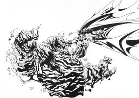 Batman vs Clayface inks by JosephLSilver