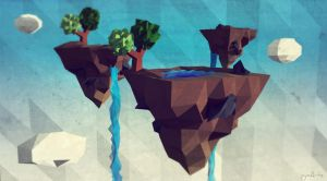 Low Poly Flying Islands. by pyxArtz