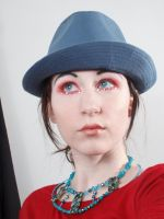 Blue hat red dress 2 by Sinned-angel-stock