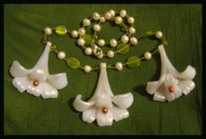 easter lily necklace by absynthia
