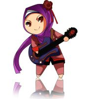 Chibi Hijab Girl with Guitar by HadesNoFyr