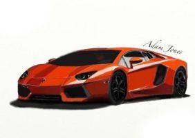 A lambo painting I did by AdamDarkLordJones