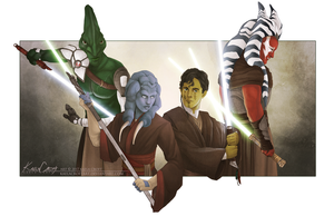 The Masters and Padawans by KaelaCroftArt