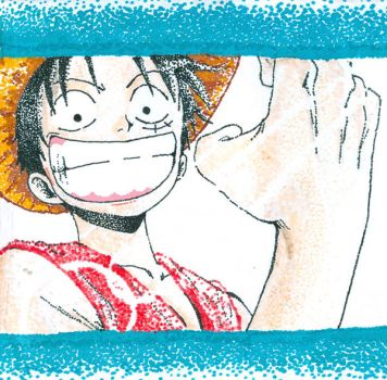 Monkey D. Luffy: Stipple by electric-waffle