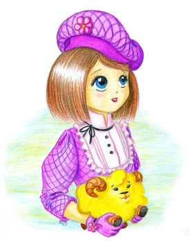 A girl and toy sheep 2 by jkBunny