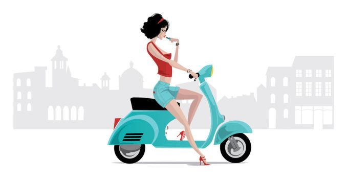 Vespa Girl Retro Style by Coolgraphic