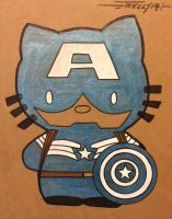 Kitty blue shield cap by artist Tom Kelly by TomKellyART
